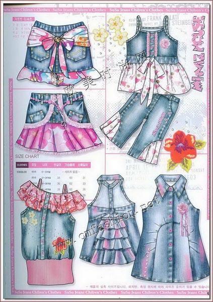 2008韩国童装牛仔服装系列设计手稿(图1)