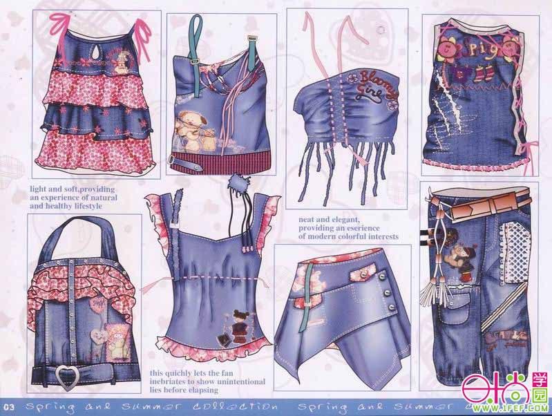 偏韩国风的牛仔童装设计手稿(二)