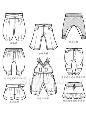童装衣服裤子手绘图片
